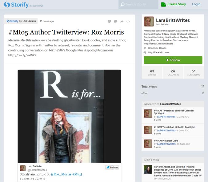 #Mto5 Roz Morris Twitterview Storify